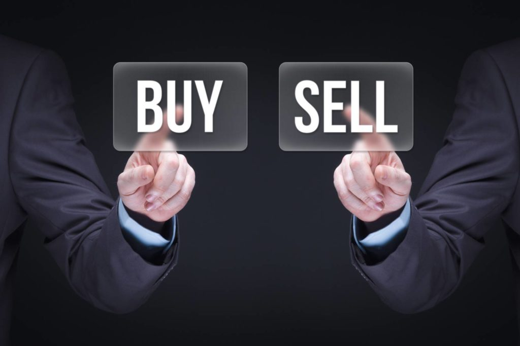 Buy and Sell Businessman concept.